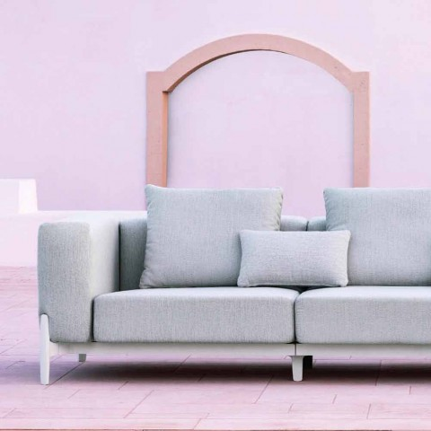 Canapé d'angle d'extérieur 5 places au design en aluminium avec 3 finitions - Filomena