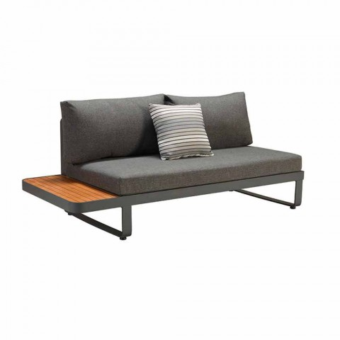 Canapé d'angle d'extérieur avec table basse design en teck et aluminium - Hatice