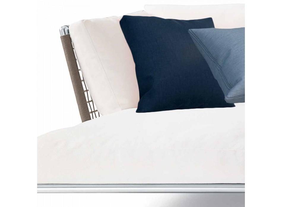 Canapé d'angle d'extérieur au design moderne en tissu gris tourterelle ou blanc - Ontario3