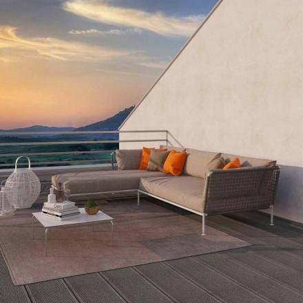 Canapé d'angle extérieur au design moderne en tissu gris tourterelle ou blanc - Ontario3