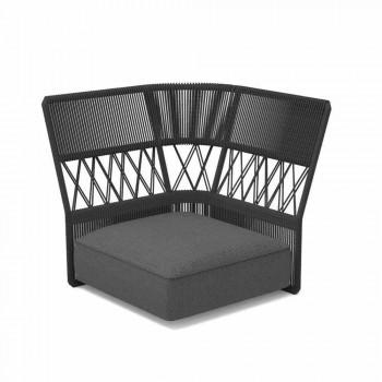 Canapé d'angle d'extérieur rembourré en tissu et corde | Cliff Decò par Talenti
