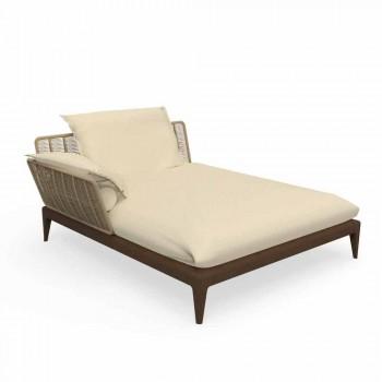Canapé d'extérieur Chaise Longue en teck et tissu - Cruise Teak by Talenti