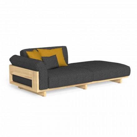 Chaise longue d'extérieur rembourrée en bois de haute qualité - Argo par Talenti
