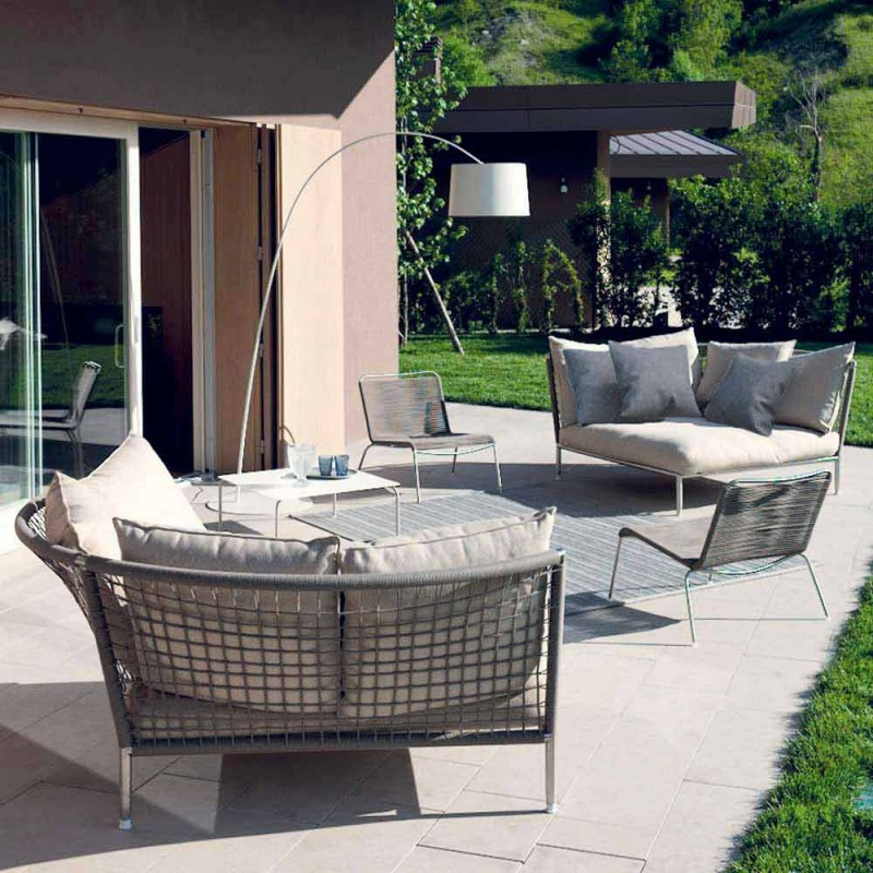Canapé de jardin circulaire en tissu Turtledove fabriqué en Italie - Ontario