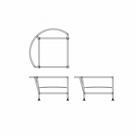 Canapé circulaire pour l'extérieur en tissu blanc Design Made in Italy - Ontario4