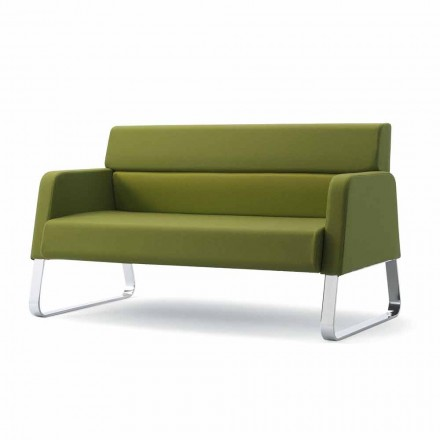 Canapé pour salle d'attente Ennio, en cuir et bois massif