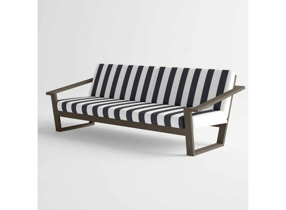 Canapé d'extérieur 2 ou 3 places en aluminium et tissu design moderne - Louisiane