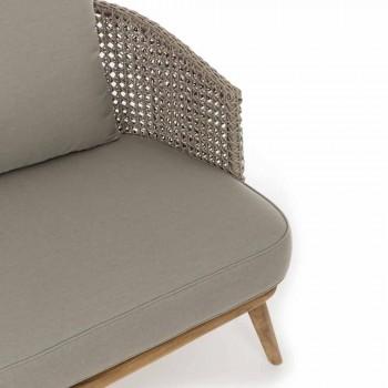 Canapé d'extérieur 2 ou 3 sièges en bois et tissu Homemotion gris tourterelle - Luana