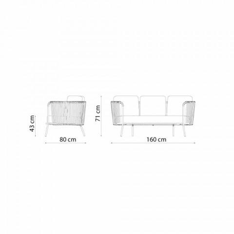 Canapé d'extérieur 2 places en métal, tissu et corde Made in Italy - Mari
