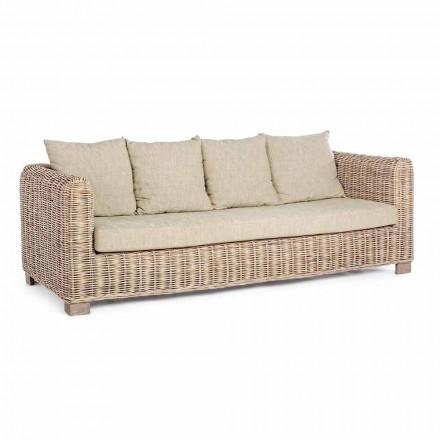 Homemotion - Canapé d'extérieur Ceara 3 places design en bois et rotin