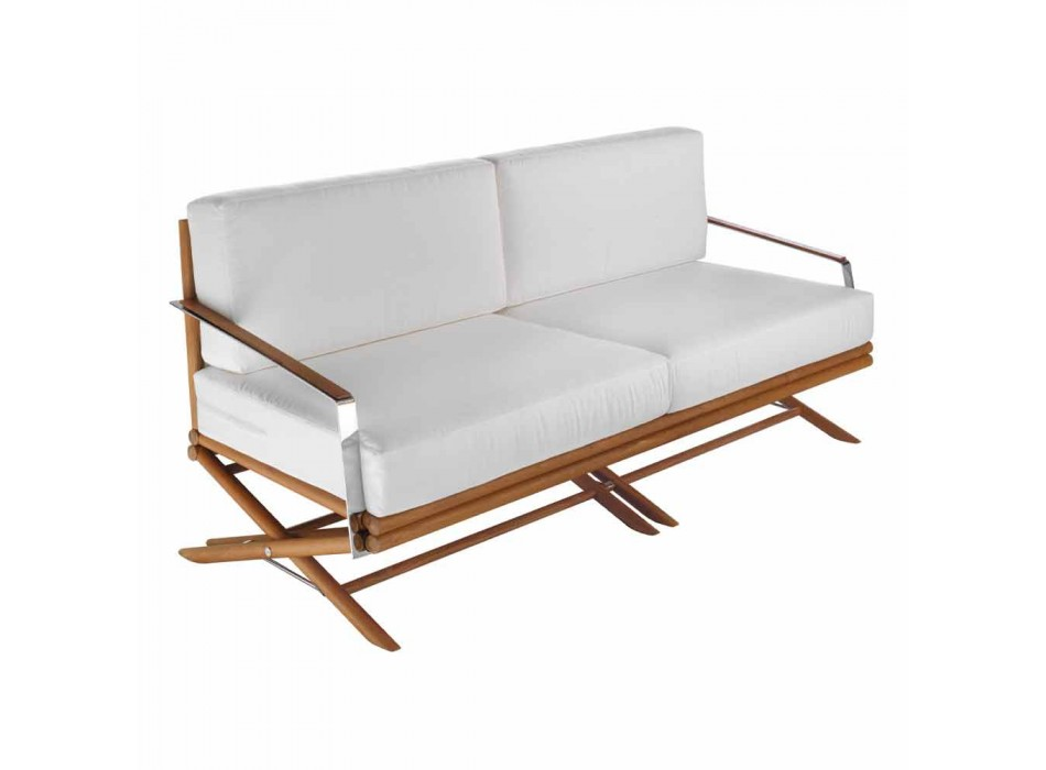 Canapé d'extérieur 3 places en bois naturel ou tissu noir et luxueux - Suzana