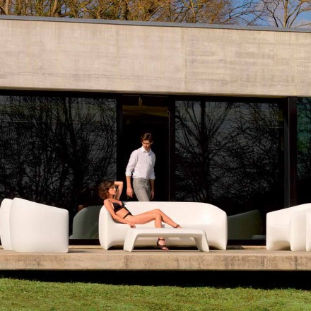 Canapé d'extérieur moderne en résine de polyéthylène, Blow by Vondom