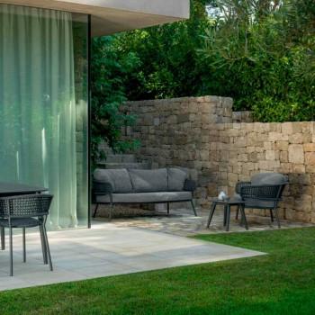 Canapé d'extérieur design Moon Alu Talenti, en corde et aluminium