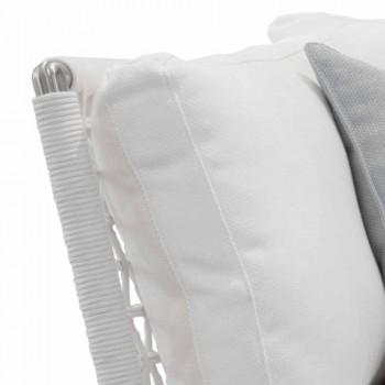Canapé d'extérieur en acier et coussins blancs en PVC tressé - Ontario6