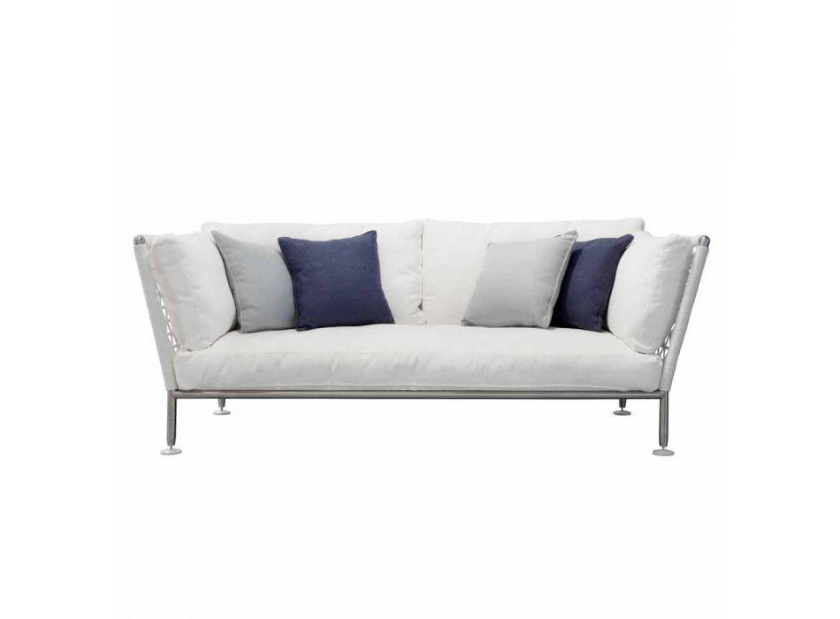 Canapé d'extérieur en acier et coussins blancs en PVC tissé - Ontario6