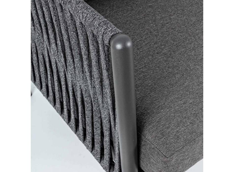 Canapé d'extérieur en aluminium et corde avec coussins en tissu Homemotion - Shama