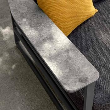 Canapé d'extérieur en aluminium, tissu et accoudoirs en Gres - Riviera by Talenti