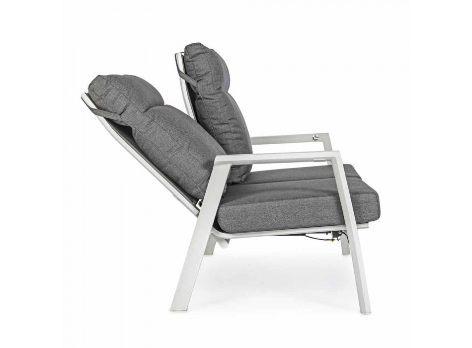 Canapé d'extérieur en tissu et aluminium avec dossier inclinable - Nathy