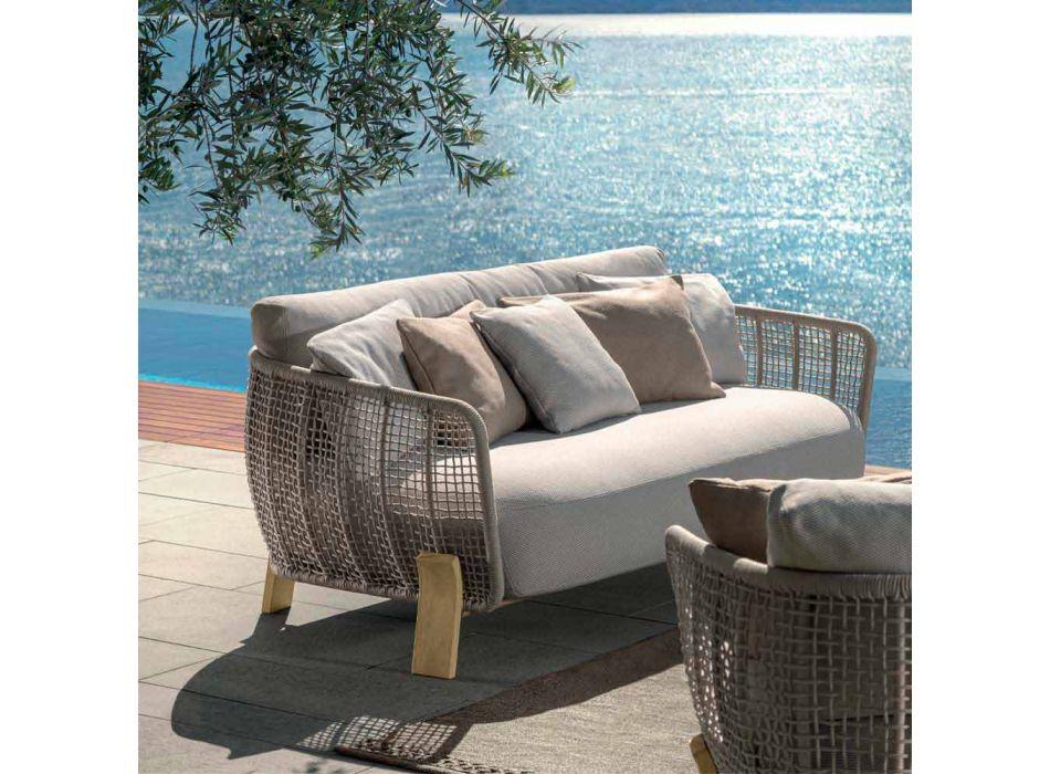 Canapé d'extérieur en tissu et corde, design rembourré moderne - Argo by Talenti