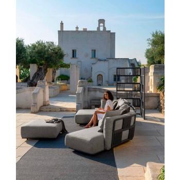 Canapé d'extérieur central modulaire en tissu et aluminium - Scacco par Talenti