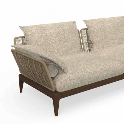 Canapé d'extérieur modulable droit en teck et tissu - Cruise Teak par Talenti