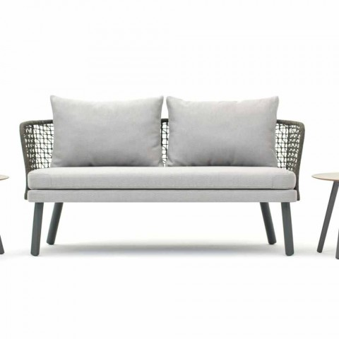 Canapé d'extérieur moderne Varaschin Emma en tissu et métal