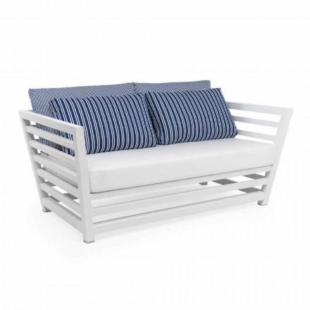 Canapé de jardin 2 places en aluminium blanc ou noir et coussins bleus - Cynthia