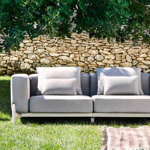 Canapé de jardin 3 places avec rallonge, design en aluminium et tissu - Filomena