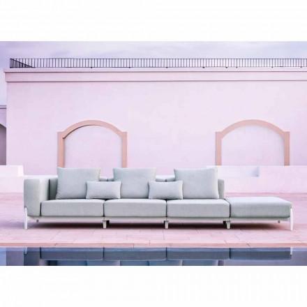 Canapé de jardin 3 places avec pouf de luxe en aluminium et tissu - Filomena