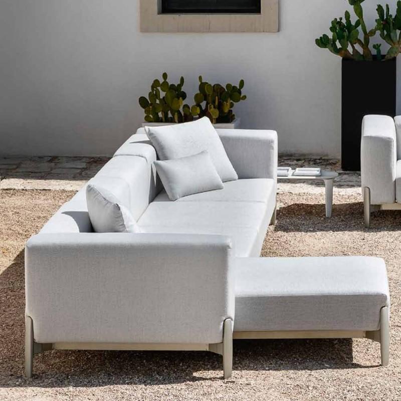 Canapé de jardin 3 places avec méridienne en aluminium et tissu - Filomena