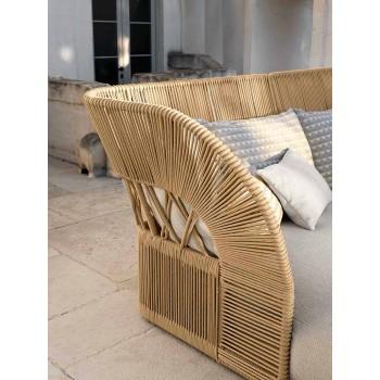 Canapé de jardin moderne en corde synthétique et tissu - Cliff Decò by Talenti