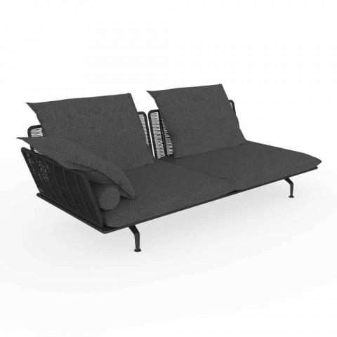 Canapé de jardin modulable droit en aluminium et tissu - Cruise Alu par Talenti