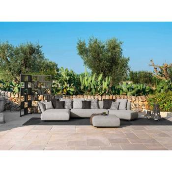 Canapé de jardin modulable oblique droit en tissu et aluminium - Scacco Talenti
