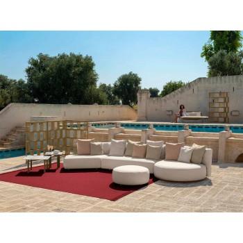 Canapé de jardin modulable rond droit en aluminium et tissu - Scacco Talenti