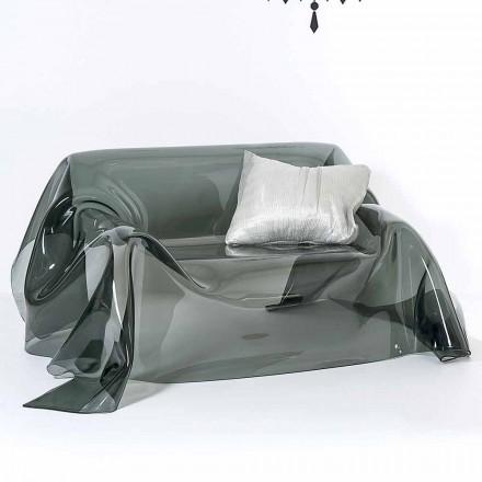 Canapé de design en plexiglas fumé Jolly, fait en Italie