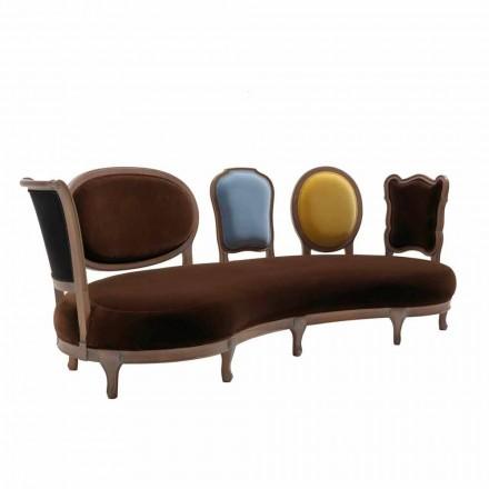 Canapé design luxe, 5 dossier en bois massif produit en Italie, Manno