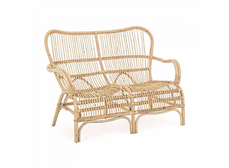 Canapé d'extérieur 2 places de luxe en fibre synthétique pour jardin - Melizia