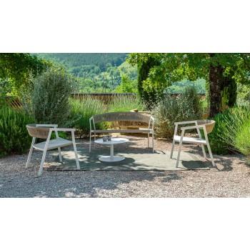 Canapé de jardin 2 places empilable en aluminium et textilène - Key by Talenti