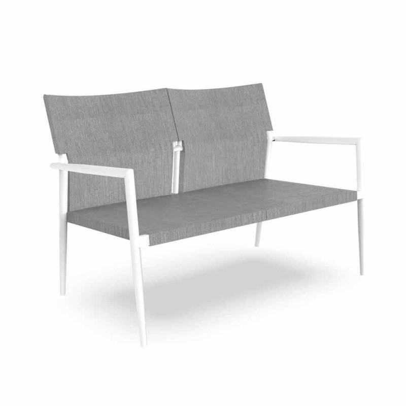 Canapé de jardin 2 places en aluminium et textilène - Adam par Talenti