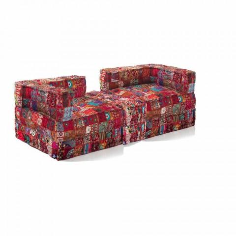 Canapé deux places rembourré en tissu coloré de conception ethnique - Fibre