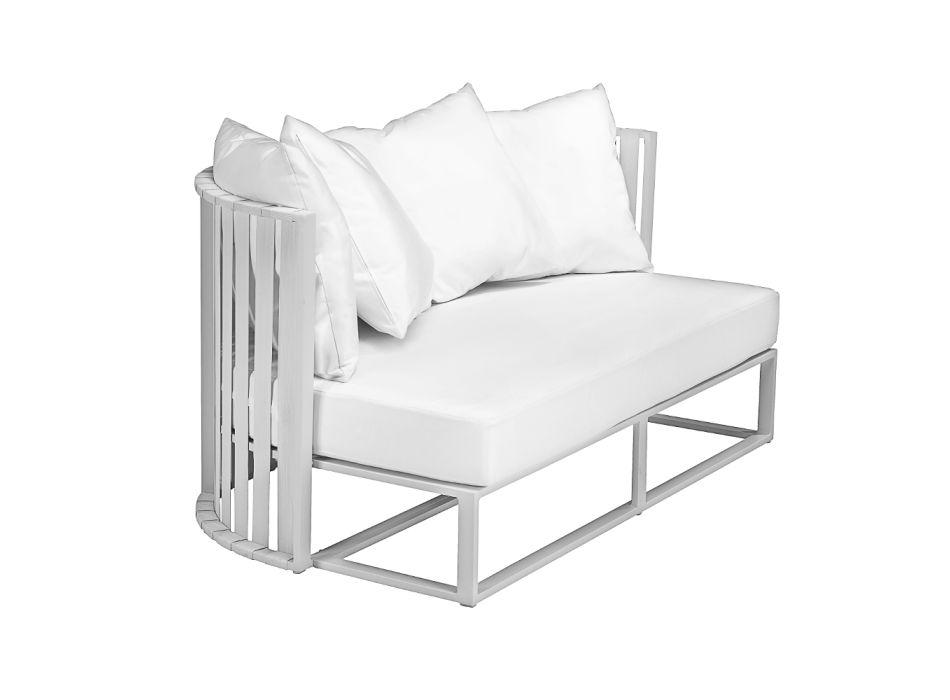 Canapé d'extérieur 2 places en aluminium avec cordes design de luxe 3 finitions - Julie