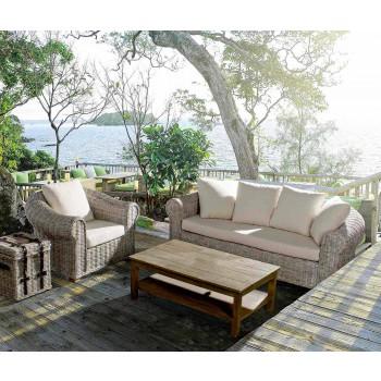 Canapé 3 places extérieur / intérieur en rotin de luxe Homemotion - Francioso