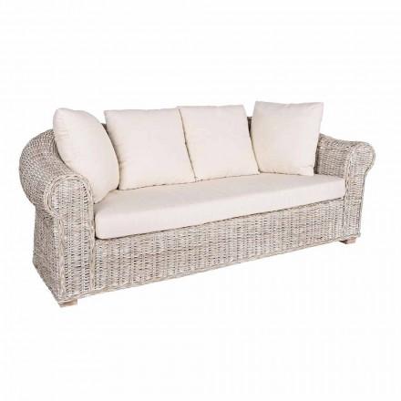 Canapé pour intérieur ou intérieur 3 sièges en rotin Homemotion - Francioso