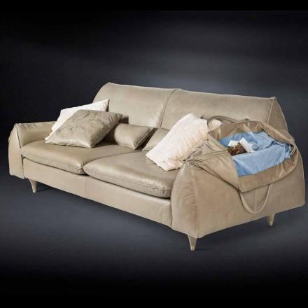 Canapé Eve, bois massif et cuir, avec accoudoirs de rangement