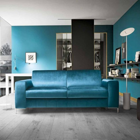 Canapé-lit en tissu pétrole avec base chromée Made in Italy - Ranuncolo