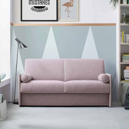Canapé-lit en tissu rose pâle avec bordure blanche Made in Italy - Poppy