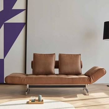Canapé-lit rembourré moderne Ghia by Innovation avec pieds chromés