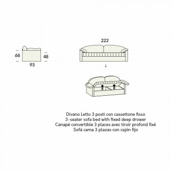 Canapé-lit simple avec conteneur recouvert de tissu fabriqué en Italie - Kayla