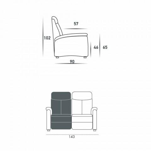 Motorisé Canapé 2 places avec siège électrique Gelso 1, un design moderne