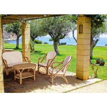 Canapé d'extérieur 2 places pour jardin en coussins de rotin blanc - Maurizia